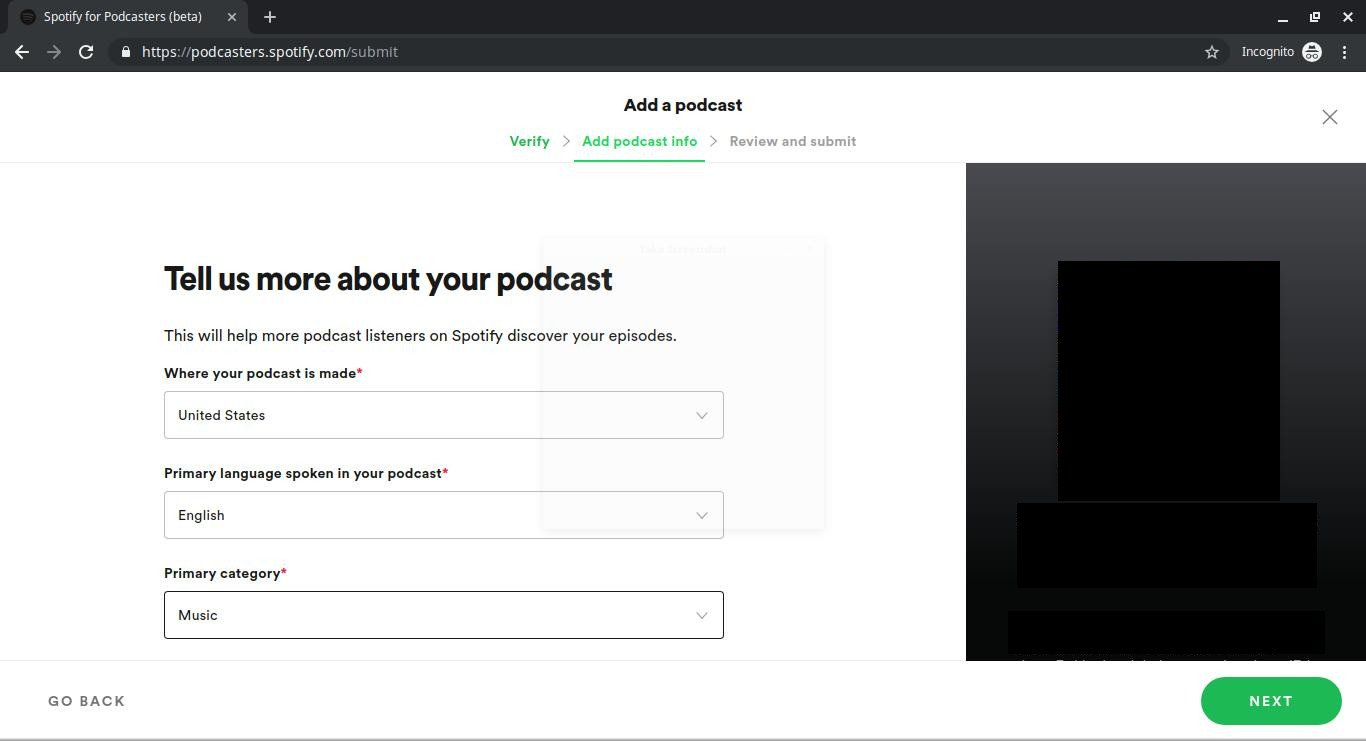 Add podcast category and details for Spotify