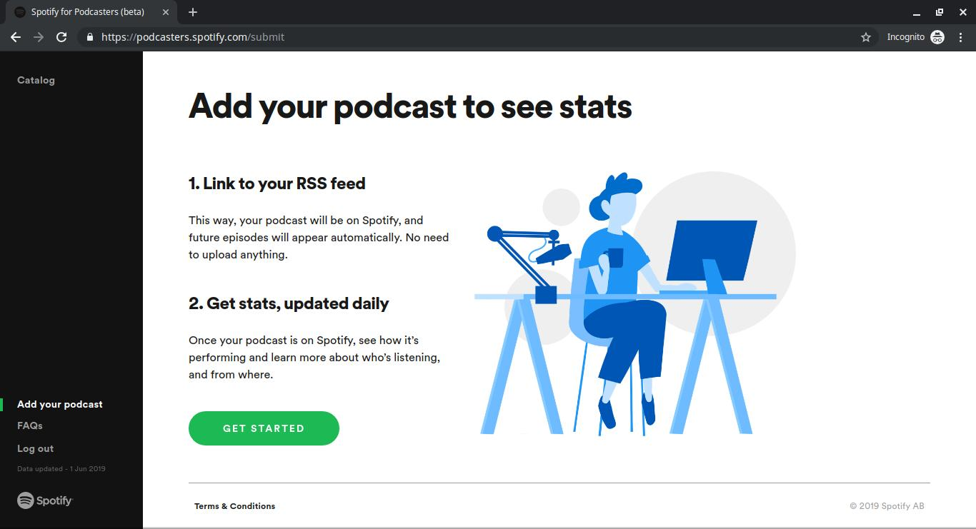 The Spotify Podcasters welcome page