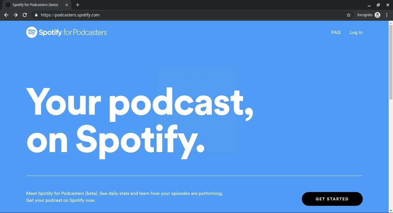 The Spotify Podcasters sign up page